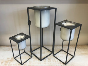 Grey Metal Candle Stands - Set of 3