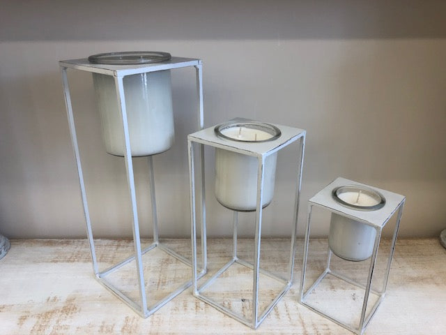 White Metal Candle Stands - Set of 3