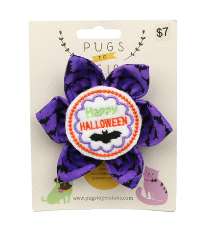 Happy Halloween on Purple Bats Large Dog Bow