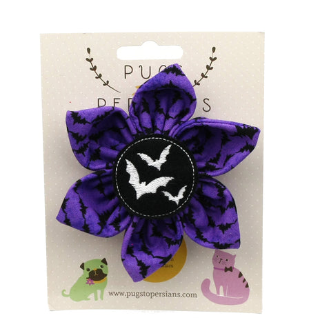 Glow in the Dark Bats on Purple Bats Large Dog Bow