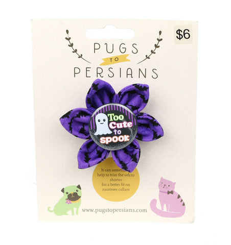 Too Cute to Spook on Purple Bats Small Dog Bow
