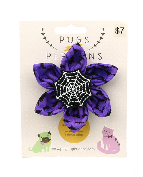 Spiderweb on Purple Bats Medium Dog Bow