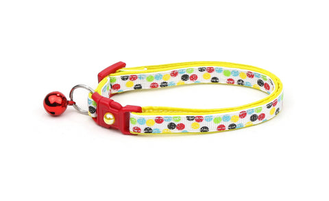 Bright Primary Polka Dots Cat Collar