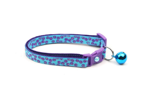 Purple Dots on Blue Cat Collar