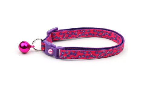 Purple Dots on Dark Pink Cat Collar