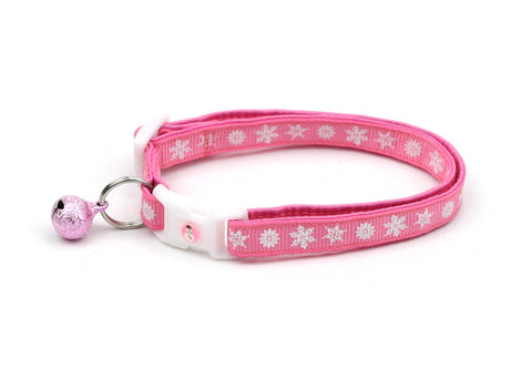White Snowflakes on Pink Cat Collar