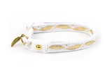 Metallic Gold Feathers on White Cat Collar