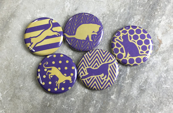 Patterned Cats in Purple and Gold Magnets