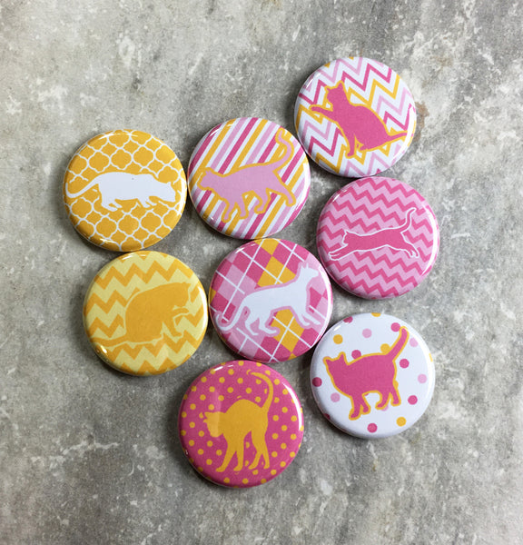 Patterned Cats in Pink and Yellow Magnets