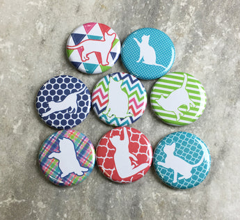 Patterned Cats in Blue, Green, and Red Magnets