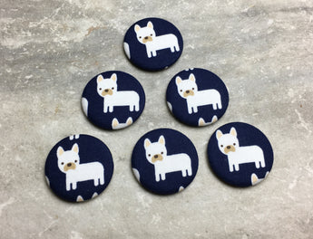 French Bulldogs on Navy Magnets