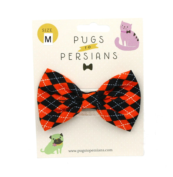 Orange and Black Argyle Dog Bowtie