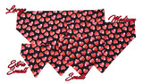 Pink and Red Hearts on Black Pet Bandana