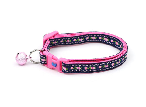 Pink Flowers and Lace on Navy Blue Cat Collar