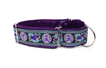 Purple and Blue Asian Symbol Greyhound Collar