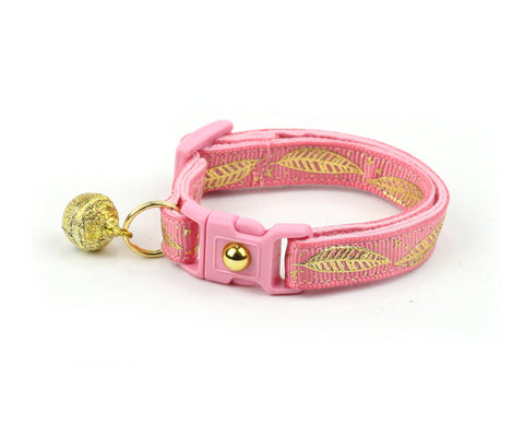 Metallic Gold Feathers on Coral Pink Cat Collar