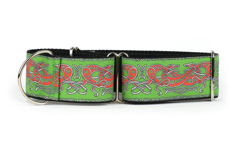 Celtic Knot in Green and Red Greyhound Collar