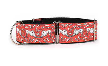 Red and White Art Nouveau Greyhound Collar