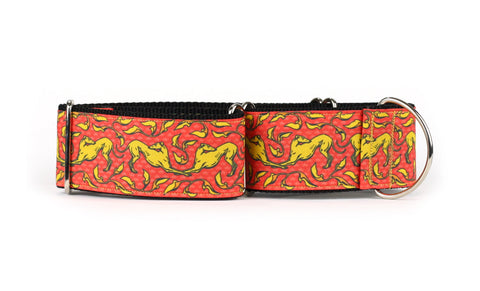 Red and Yellow Art Nouveau Greyhound Collar