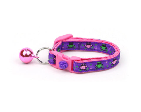 Pink and Green Owls on Purple Cat Collar