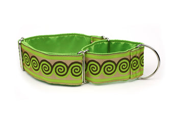 Green and Brown Swirls Greyhound Collar