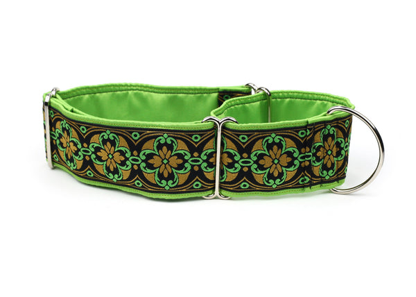 Black Green and Gold Royal Crest Greyhound Collar