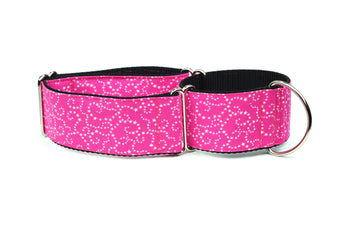 White Stars on Pink Greyhound Collar