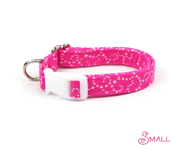 White Stars on Pink Dog Collar
