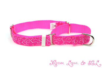 White Stars on Pink Martingale Dog Collar