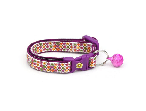 Plum Argyle Cat Collar