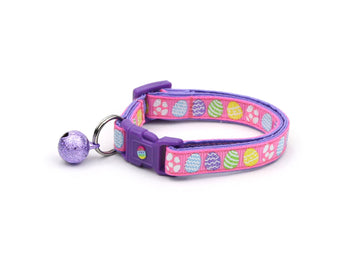 Patterned Easter Eggs on Pink Cat Collar