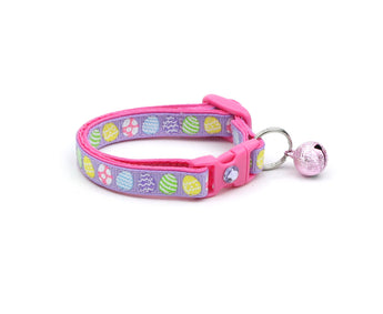 Patterned Easter Eggs on Purple Cat Collar