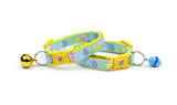Patterned Easter Eggs on Blue Cat Collar