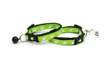 Cute Ghosts on Green Cat Collar