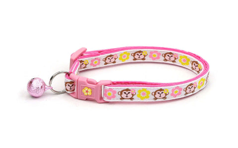 Monkeys with Pink and Yellow Flowers Cat Collar