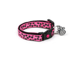 Black Dots on Bright Pink Cat Collar