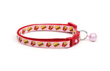 Cheeseburgers and Fries on Pink Cat Collar