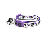 Black Cats and Purple Pawprints Cat Collar