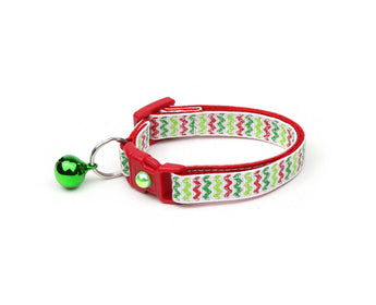 Glittery Christmas Chevrons Cat Collar