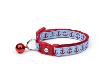 Red Anchors on Blue Cat Collar