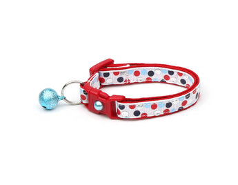 Red, Silver, and Blue Nautical Polka Dots Cat Collar