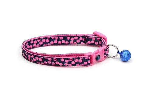 Pink Dots on Navy Blue Cat Collar