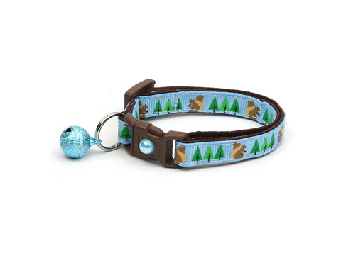 Squirrels and Trees on Blue Cat Collar