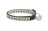 Squirrels and Trees on White Cat Collar