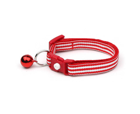 Horizontal Red and White Stripes Cat Collar