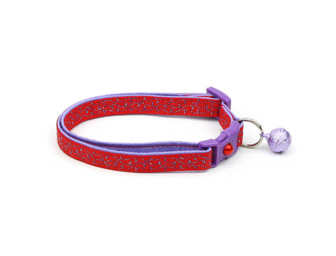Purple Squiggles on Red Cat Collar