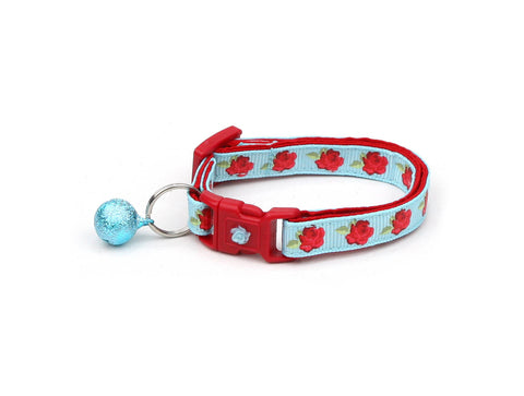 Red Tea Party Roses on Blue Cat Collar