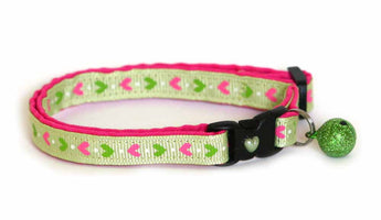 Pink Hearts on Green Cat Collar