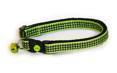Apple Green Houndstooth Cat Collar