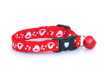 White Hearts on Red Cat Collar
